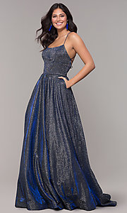 Image of long iridescent jersey square-neck prom dress. Style: PO-8472 Detail Image 3