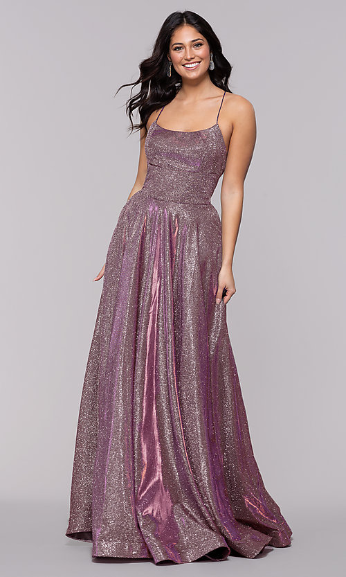 Image of long iridescent jersey square-neck prom dress. Style: PO-8472 Detail Image 4