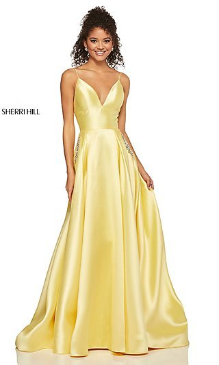 Classic A-Line V-Neck Designer Prom Dress