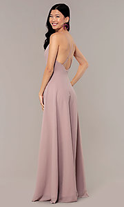 Image of a-line long v-neck chiffon prom dress by Simply. Style: LP-SD-MG20076 Detail Image 5