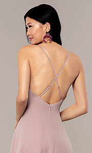 Image of a-line long v-neck chiffon prom dress by Simply. Style: LP-SD-MG20076 Detail Image 7