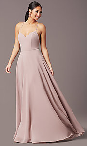 Image of a-line long v-neck chiffon prom dress by Simply. Style: LP-SD-MG20076 Detail Image 2