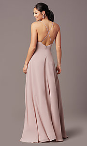 Image of a-line long v-neck chiffon prom dress by Simply. Style: LP-SD-MG20076 Back Image