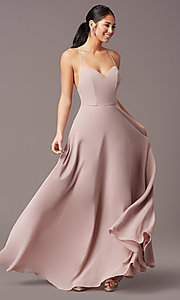 Image of a-line long v-neck chiffon prom dress by Simply. Style: LP-SD-MG20076 Front Image