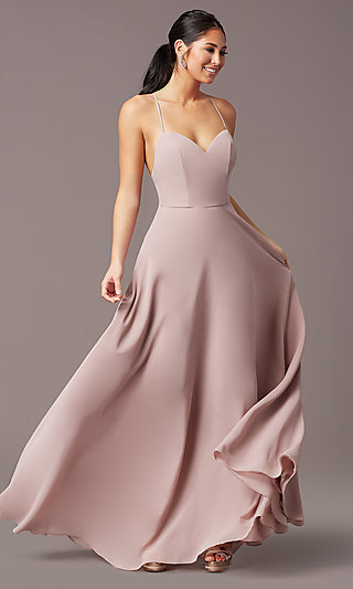 A-Line Long V-Neck Chiffon Prom Dress by Simply