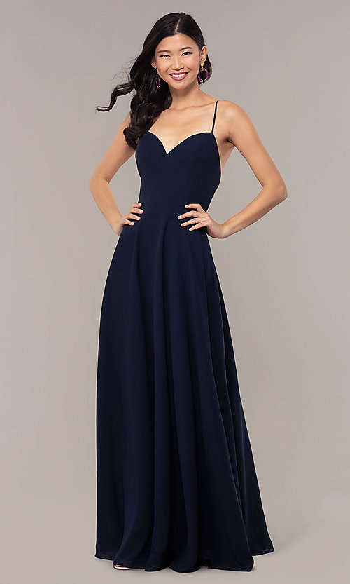 Image of a-line long v-neck chiffon prom dress by Simply. Style: LP-SD-MG20076 Detail Image 3