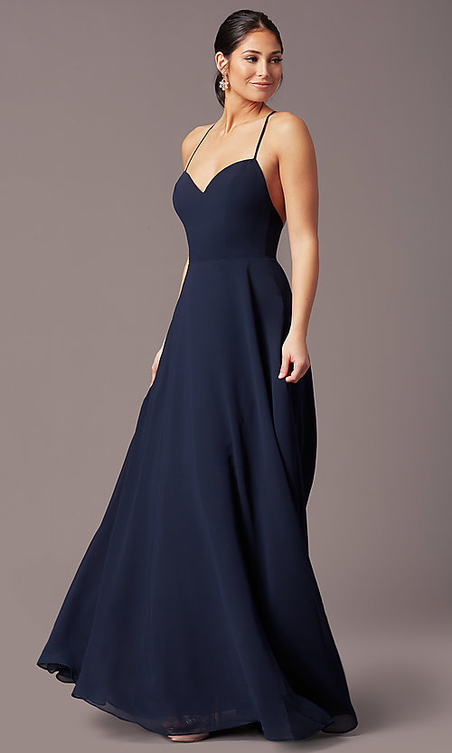 Image of a-line long v-neck chiffon prom dress by Simply. Style: LP-SD-MG20076 Detail Image 6