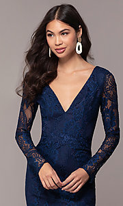 Image of long-sleeve v-neck prom dress by Simply. Style: LP-SD-25922 Detail Image 1