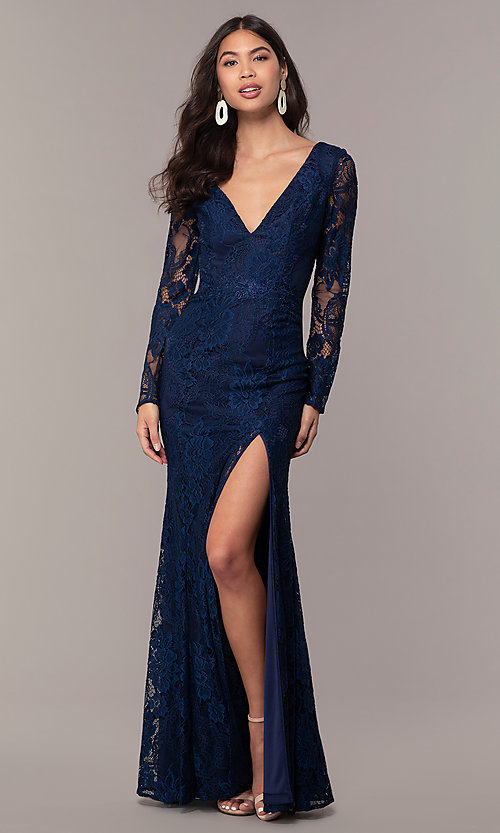 Image of long-sleeve v-neck prom dress by Simply. Style: LP-SD-25922 Back Image
