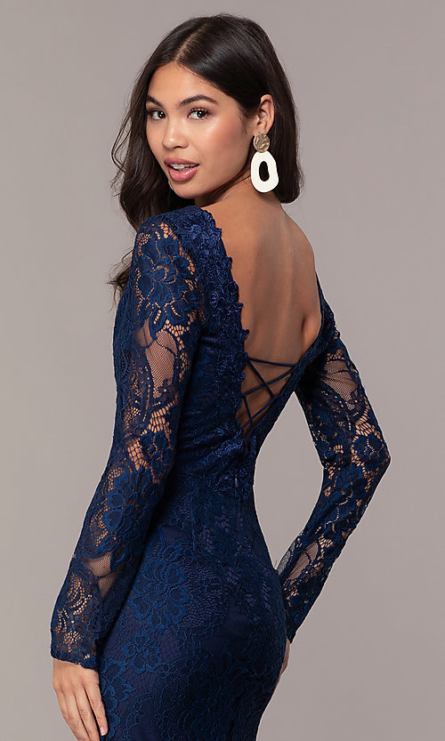 Image of long-sleeve v-neck prom dress by Simply. Style: LP-SD-25922 Detail Image 2