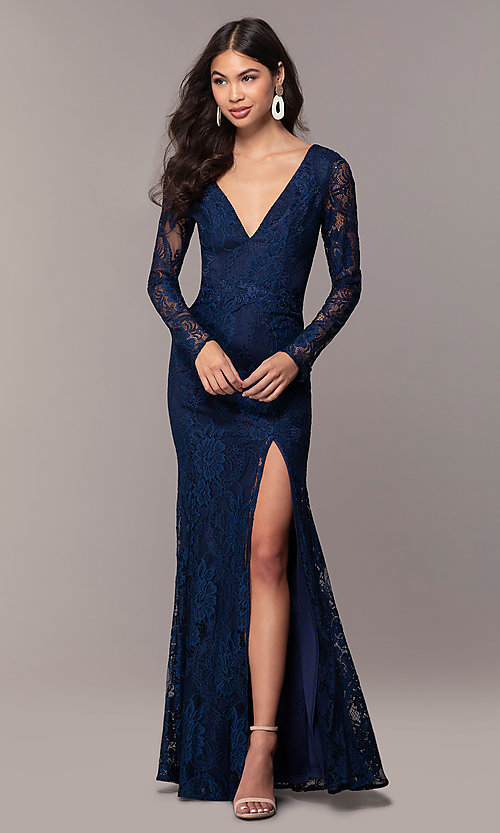 Image of long-sleeve v-neck prom dress by Simply. Style: LP-SD-25922 Detail Image 3