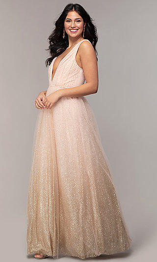 Glitter-Tulle Long V-Neck Prom Dress by PromGirl