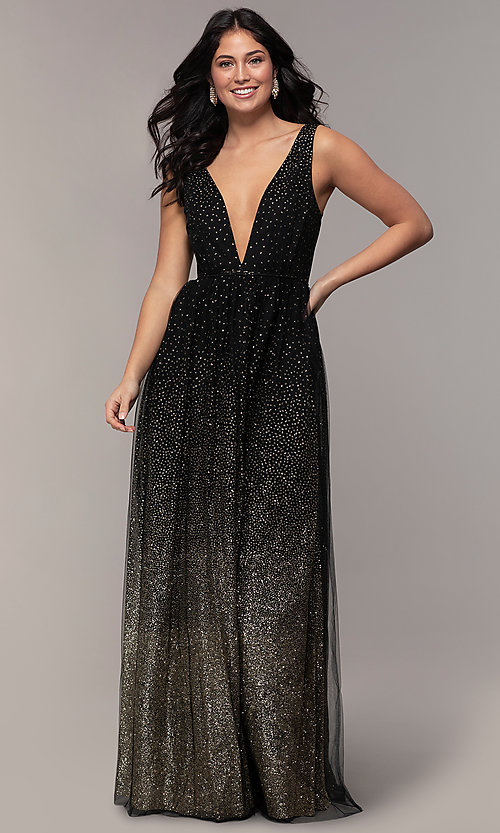 Image of glitter-tulle long v-neck prom dress by PromGirl. Style: LP-26059 Detail Image 3