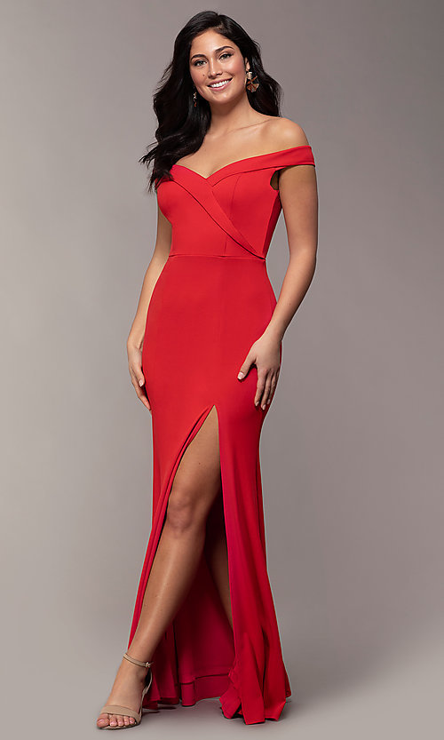 Image of off-the-shoulder side-slit long formal prom dress. Style: LP-25728 Front Image