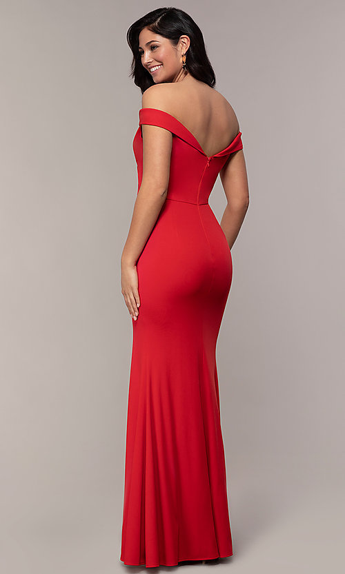 Image of off-the-shoulder side-slit long formal prom dress. Style: LP-25728 Back Image