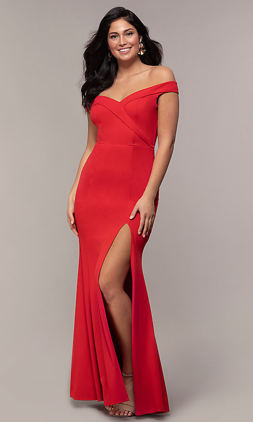 Image of off-the-shoulder side-slit long formal prom dress. Style: LP-25728 Detail Image 3