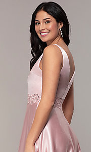 Image of long crushed-satin v-neck prom dress by PromGirl. Style: LP-25583 Detail Image 2