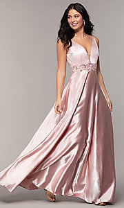 Image of long crushed-satin v-neck prom dress by PromGirl. Style: LP-25583 Detail Image 3
