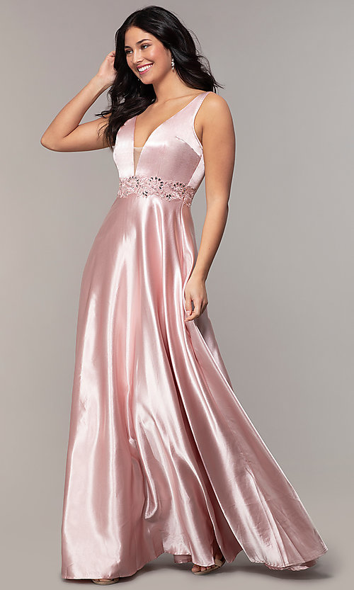 Image of long crushed-satin v-neck prom dress by PromGirl. Style: LP-25583 Front Image