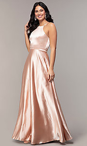 Image of high-square-neck long a-line satin prom dress. Style: LP-25559 Front Image