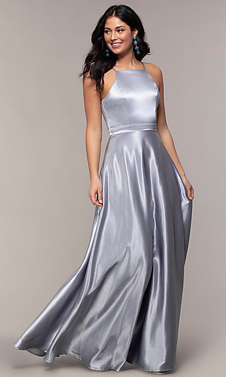 110514e206 High-Square-Neck Long A-Line Satin Prom Dress