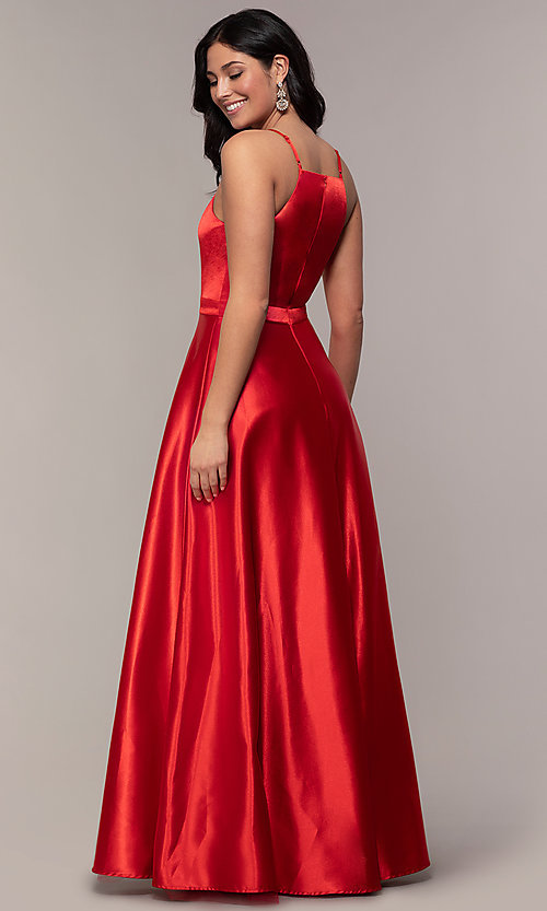 Image of high-square-neck long a-line satin prom dress. Style: LP-25559 Detail Image 4