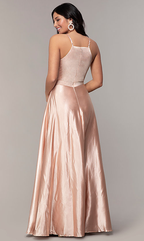 Image of high-square-neck long a-line satin prom dress. Style: LP-25559 Back Image