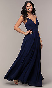 Image of long chiffon faux-wrap v-neck prom dress. Style: LP-25257 Front Image