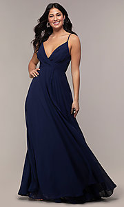 Image of long chiffon faux-wrap v-neck prom dress. Style: LP-25257 Detail Image 3