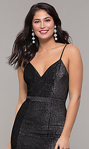Image of long metallic black prom dress with side slit. Style: LP-26008 Detail Image 1