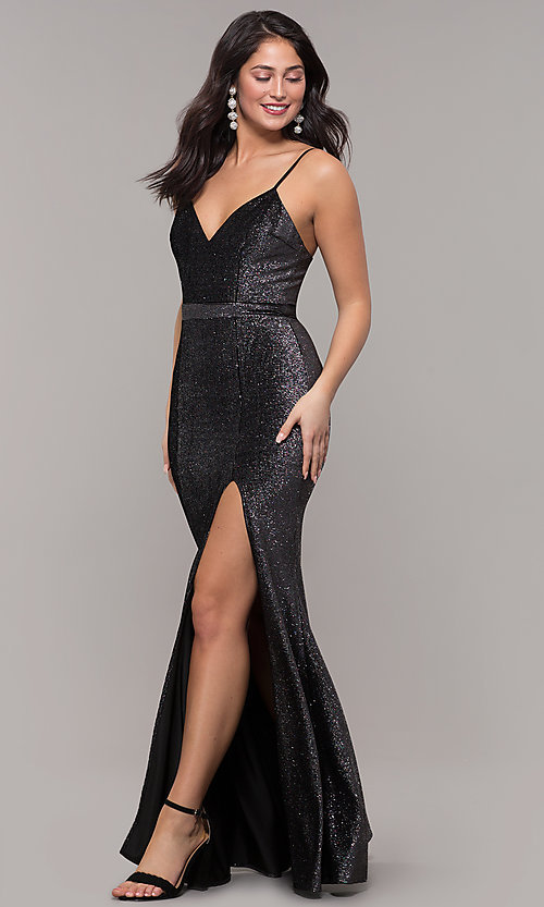 Image of long metallic black prom dress with side slit. Style: LP-26008 Detail Image 3