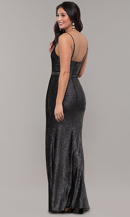 Image of long metallic black prom dress with side slit. Style: LP-26008 Back Image