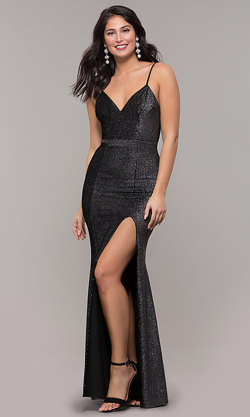 Image of long metallic black prom dress with side slit. Style: LP-26008 Front Image
