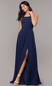 Image of long chiffon lace-up-back prom dress by Simply. Style: SJP-SD-AS111 Back Image