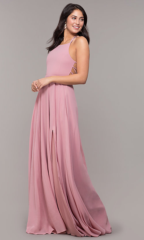 Image of long chiffon lace-up-back prom dress by Simply. Style: SJP-SD-AS111 Detail Image 6