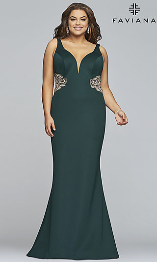 V-Neck Plus Designer Prom Dress with Embroidery
