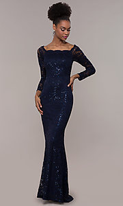Image of square-neck long navy lace prom dress with sleeves.  Style: MCR-SD-2707 Front Image