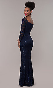 Image of square-neck long navy lace prom dress with sleeves.  Style: MCR-SD-2707 Back Image