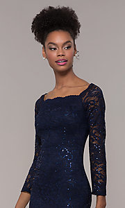 Image of square-neck long navy lace prom dress with sleeves.  Style: MCR-SD-2707 Detail Image 1