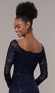 Image of square-neck long navy lace prom dress with sleeves.  Style: MCR-SD-2707 Detail Image 2