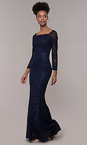 Image of square-neck long navy lace prom dress with sleeves.  Style: MCR-SD-2707 Detail Image 3