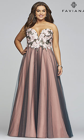 Long Strapless Ball Gown-Style Plus Prom Dress