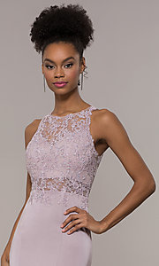 Image of embroidered-bodice long satin prom dress by PromGirl. Style: DQ-PL-2800 Detail Image 6