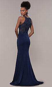 Image of embroidered-bodice long satin prom dress by PromGirl. Style: DQ-PL-2800 Back Image