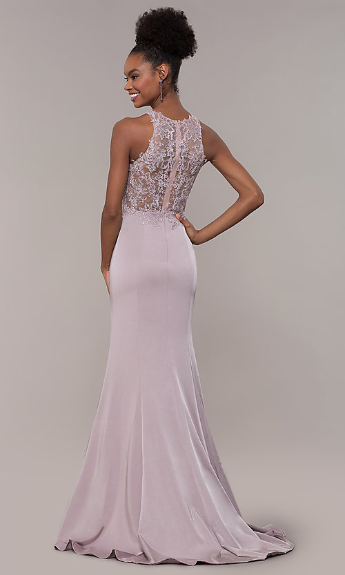 Image of embroidered-bodice long satin prom dress by PromGirl. Style: DQ-PL-2800 Detail Image 5