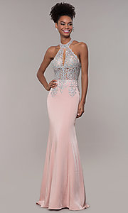 Image of high-neck embroidered JVNX by Jovani long prom dress. Style: JO-JVNX1259 Front Image