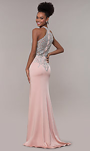 Image of high-neck embroidered JVNX by Jovani long prom dress. Style: JO-JVNX1259 Back Image