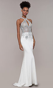 Image of high-neck embroidered JVNX by Jovani long prom dress. Style: JO-JVNX1259 Detail Image 4