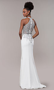 Image of high-neck embroidered JVNX by Jovani long prom dress. Style: JO-JVNX1259 Detail Image 5