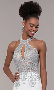 Image of high-neck embroidered JVNX by Jovani long prom dress. Style: JO-JVNX1259 Detail Image 6